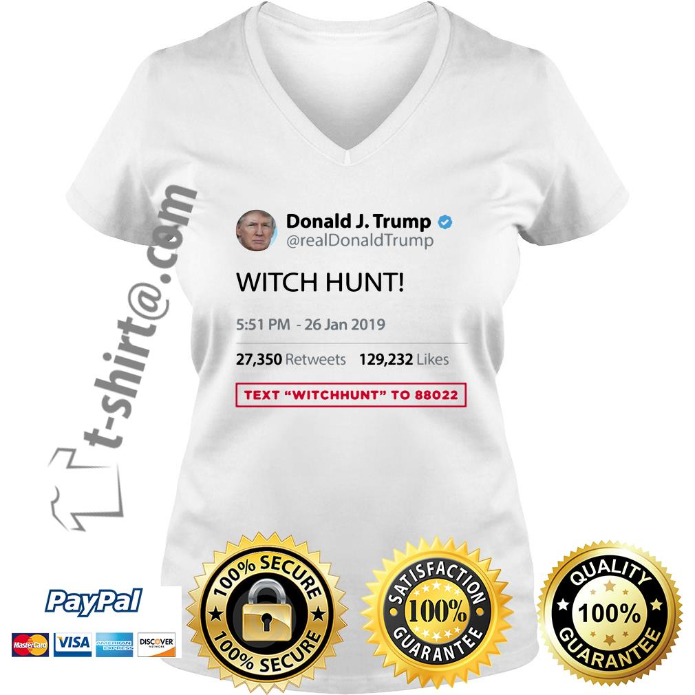 Text WITCHHUNT to 88022 BY Real Donald Trump Twitter V-neck T-shirt
