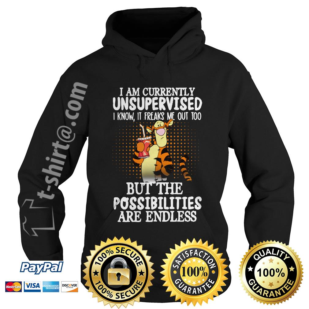 Tigger I am currently unsupervised I know it freaks me out too but the possibilities are endless Hoodie