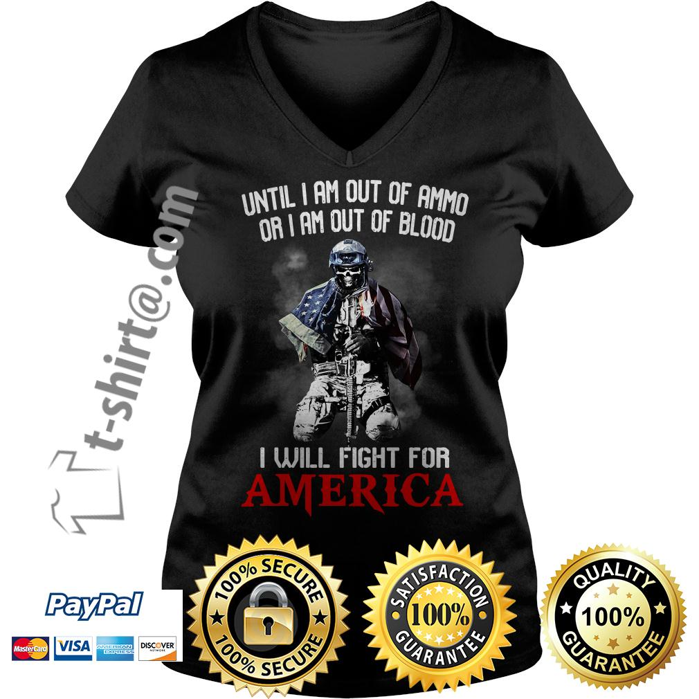 Veteran until I am out of ammo or I am out of blood I will fight V-neck T-shirt