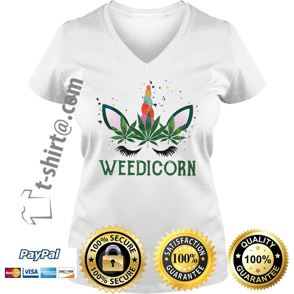 Weed unicorn Weedicorn V-neck T-shirt