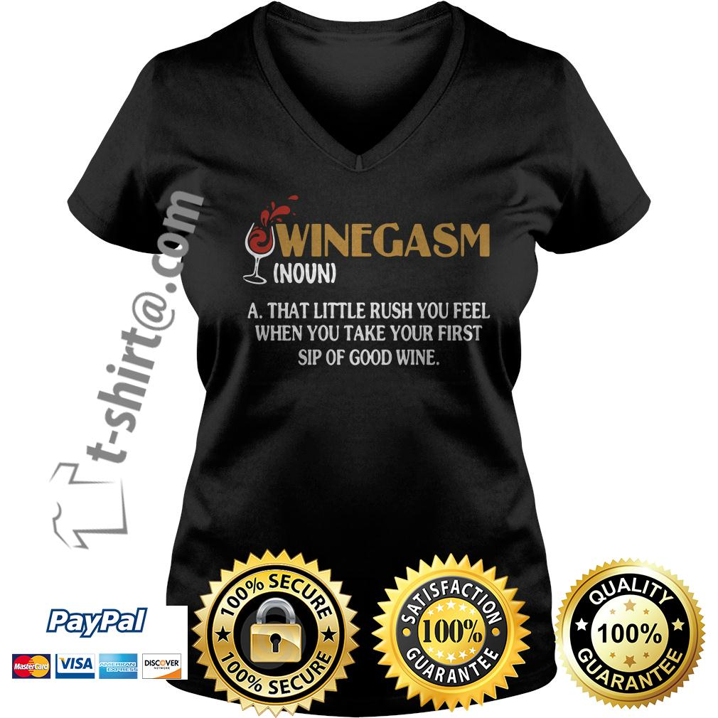 Winegasm definition a that little rush you fell V-neck T-shirt