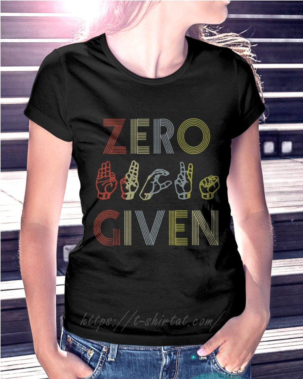 Zero fuck given American sign language vintage version Ladies Tee