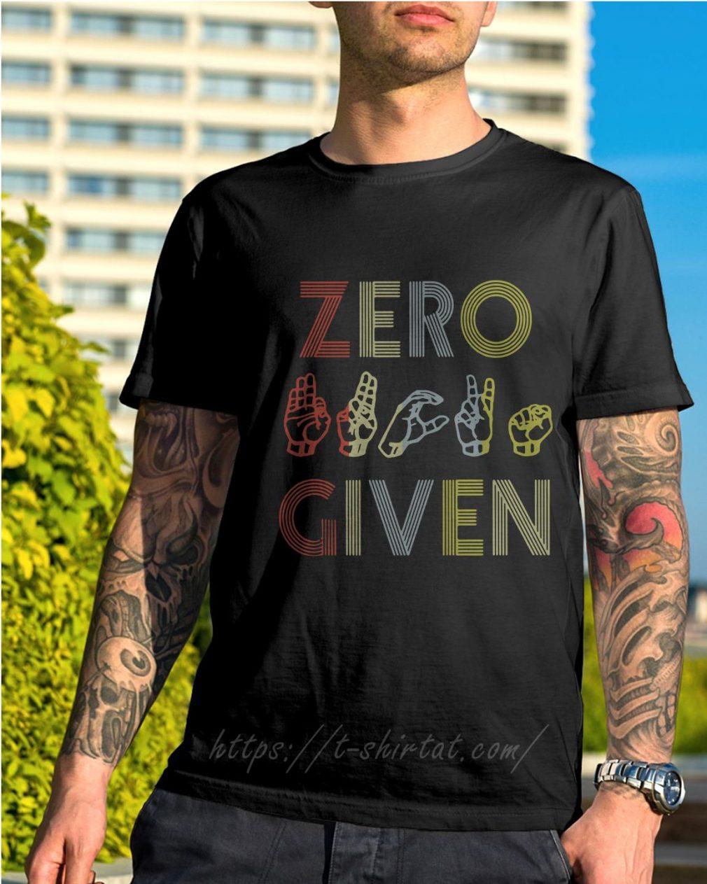 Zero fuck given American sign language vintage version shirt