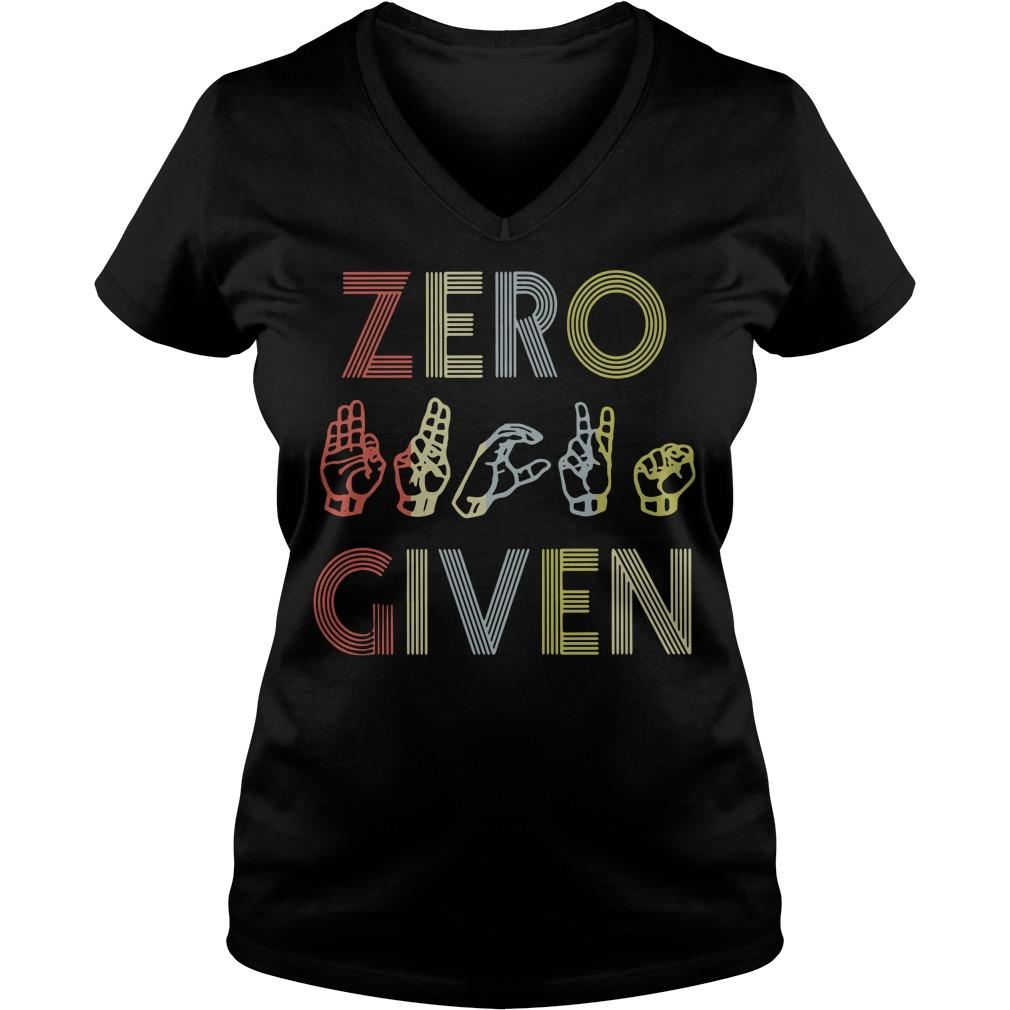 Zero fuck given American sign language vintage version V-neck T-shirt