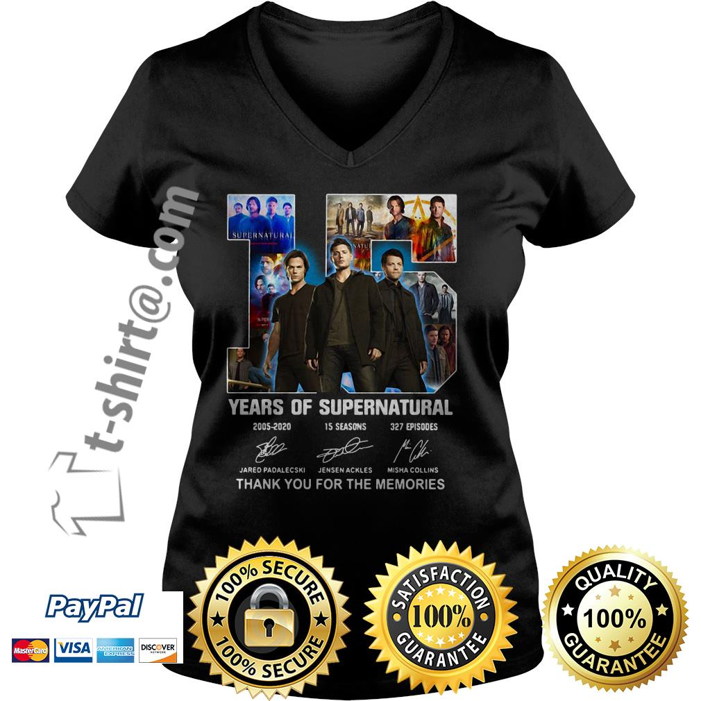 15 Years of Supernatural Jensen Ackles Jared Padalecki Misha Collins thank you for the memories signature V-neck T-shirt