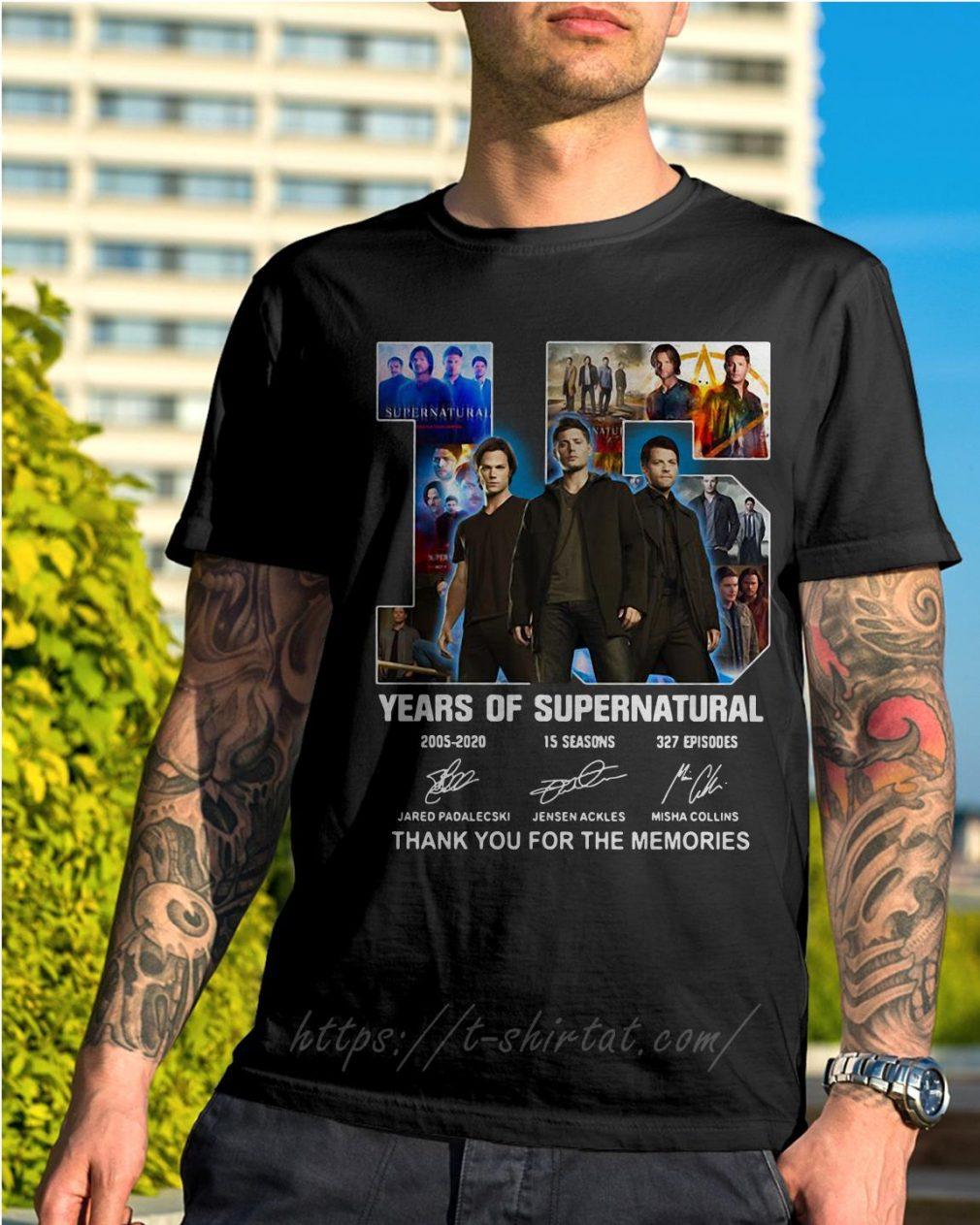 15 Years of Supernatural Jensen Ackles Jared Padalecki Misha Collins thank you for the memories signature shirt