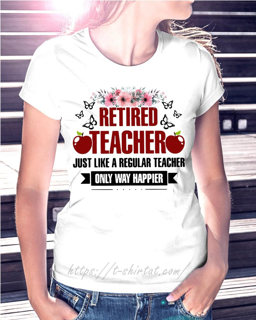 Apple retired teacher just like a regular teacher only way happier floral
