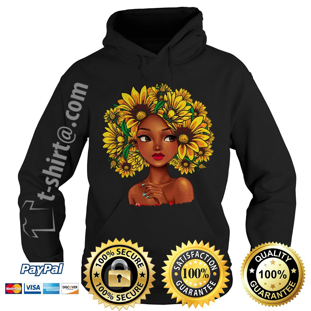 Black girl with sunflowers natural hair Hoodie
