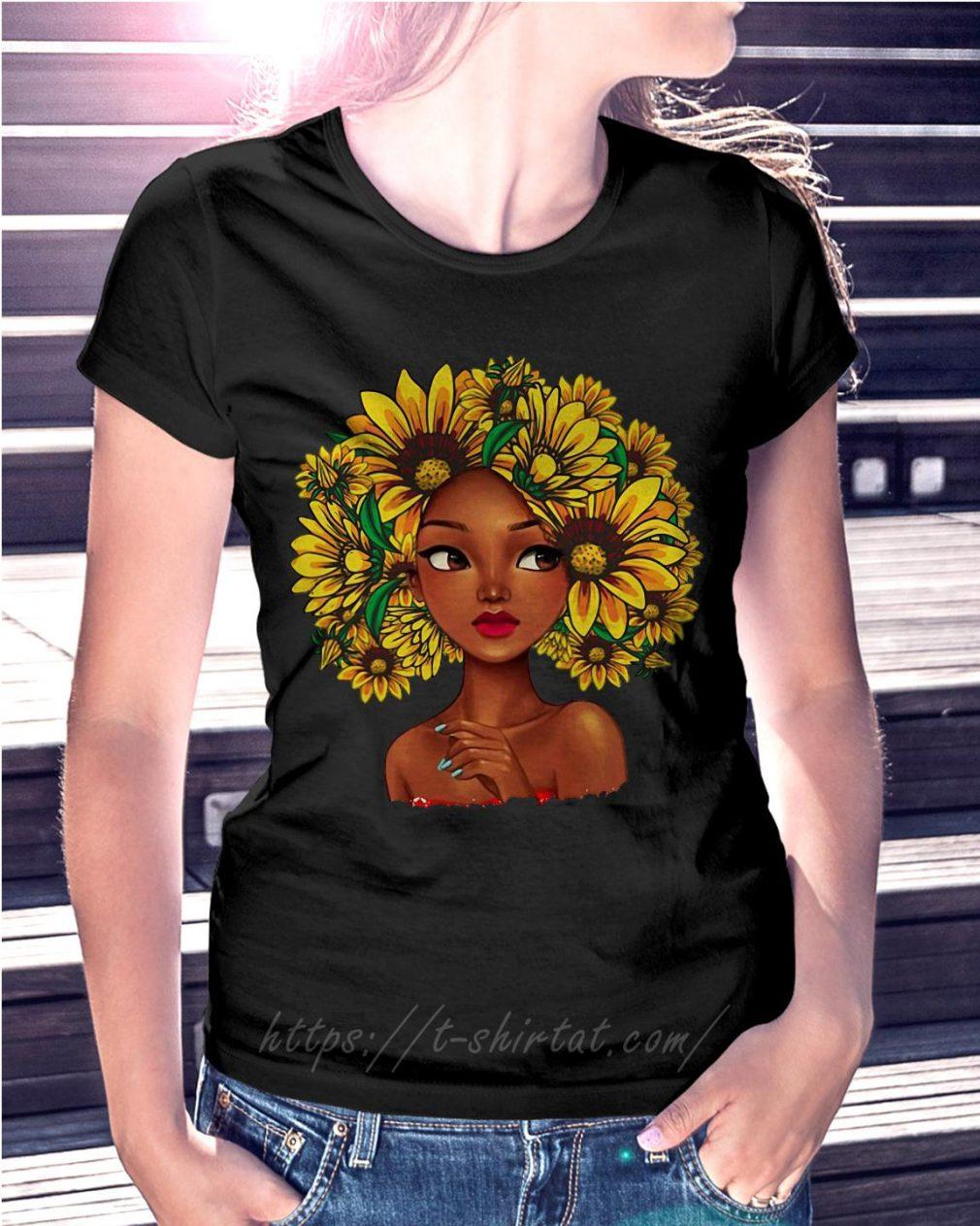Black girl with sunflowers natural hair Ladies Tee