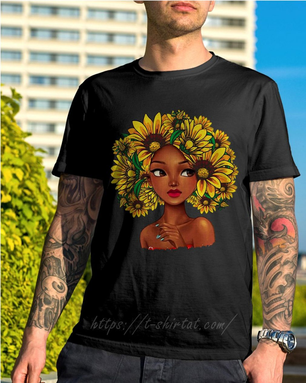 Black girl with sunflowers natural hair shirt
