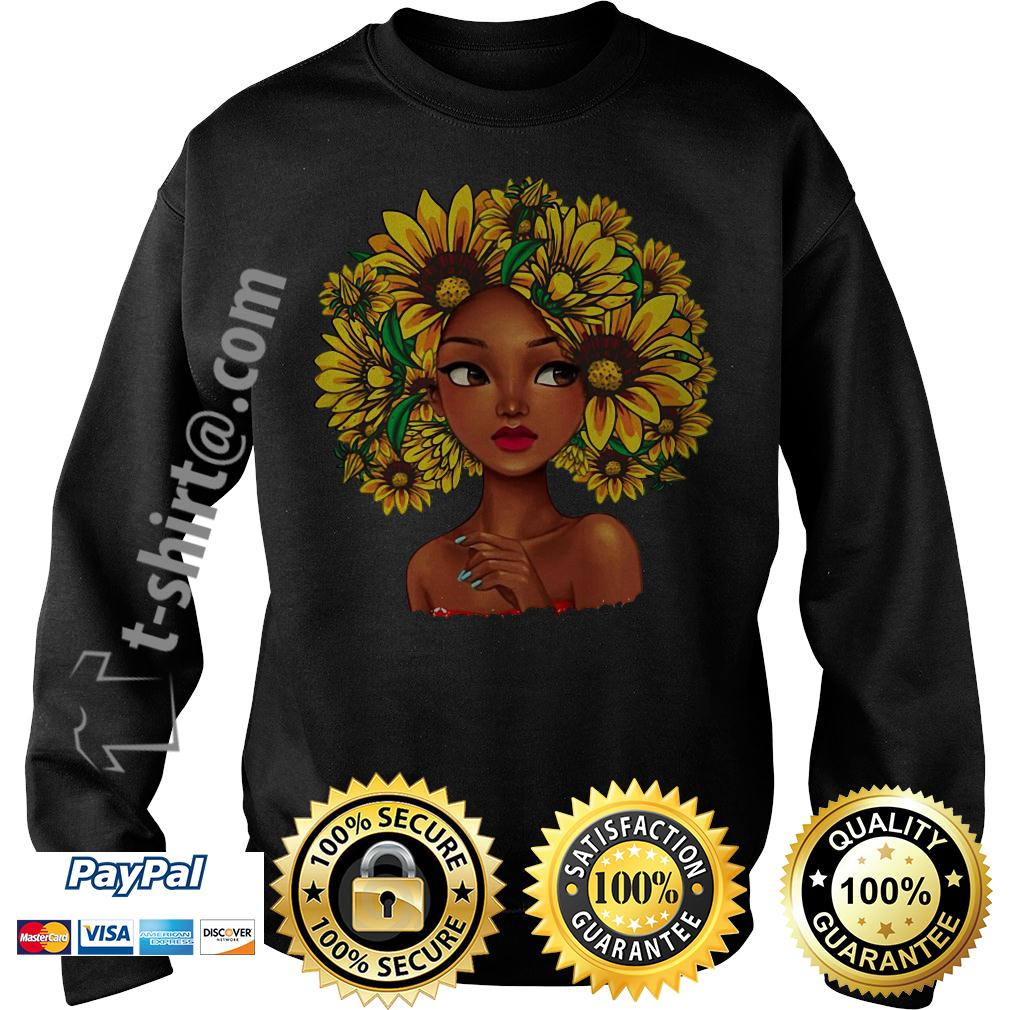 Black girl with sunflowers natural hair Sweater