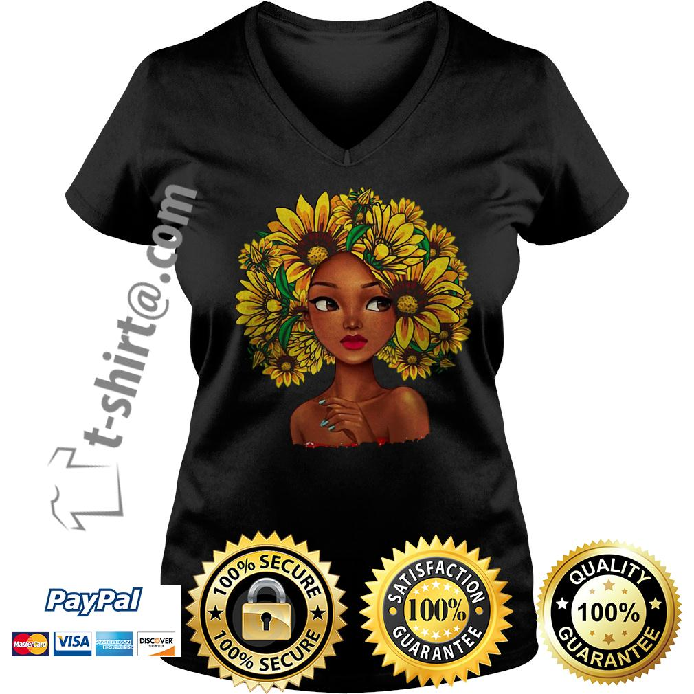 Black girl with sunflowers natural hair V-neck T-shirt