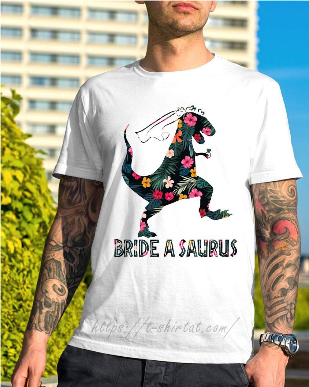 Bride a Saurus green flower shirt