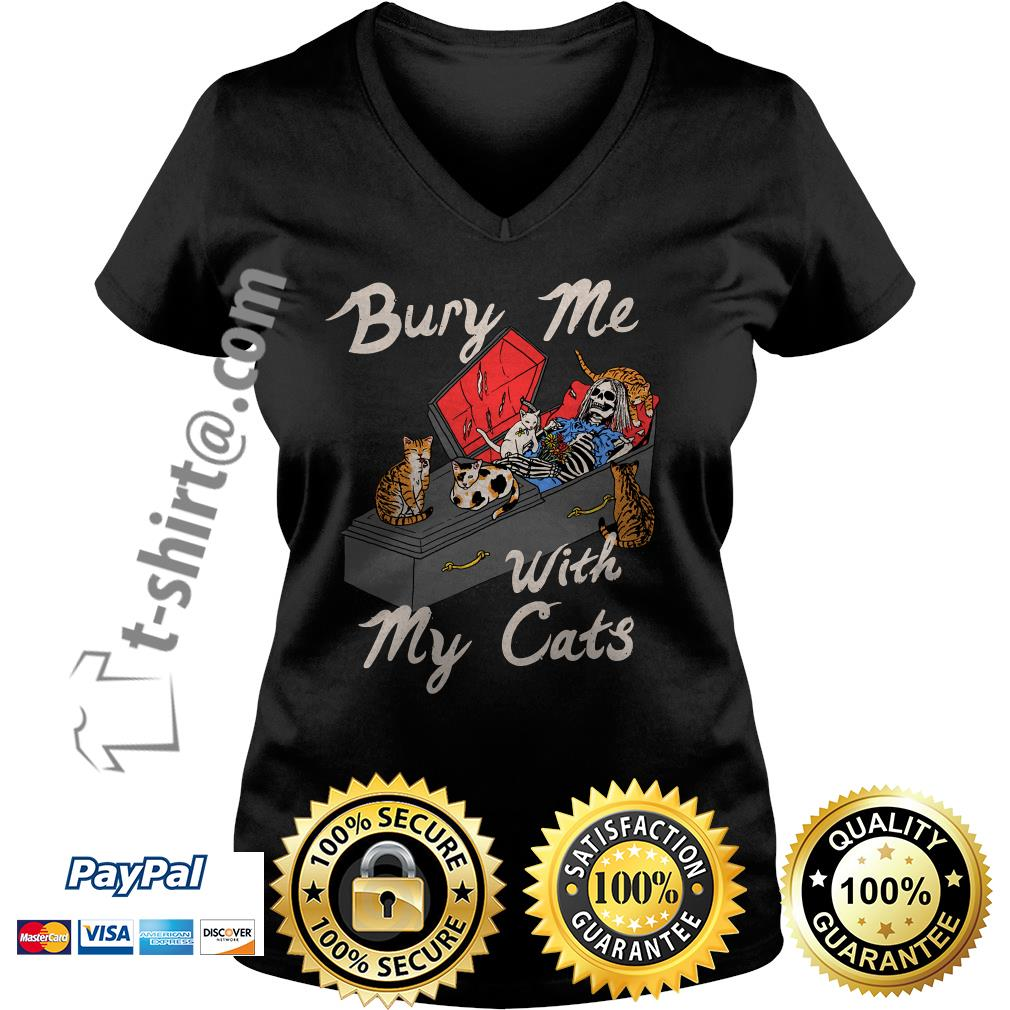 Bury me with my cats V-neck T-shirt