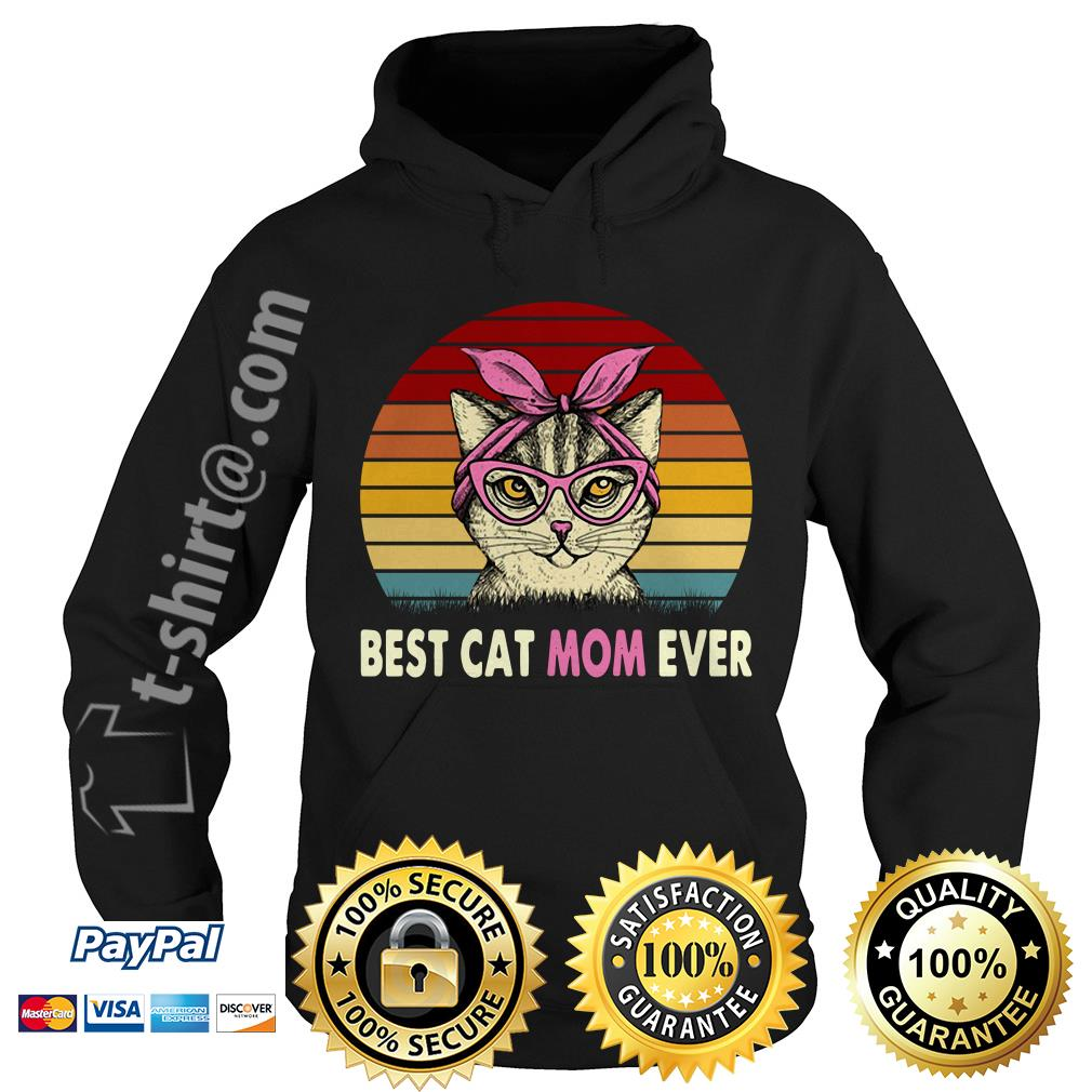 Cat with pink bandana best cat mom ever vintage Hoodie