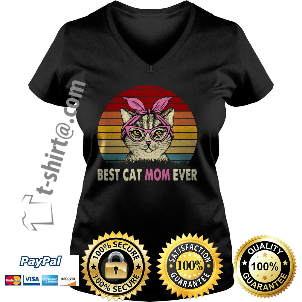 Cat with pink bandana best cat mom ever vintage V-neck T-shirt