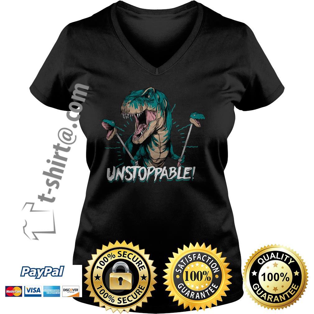 Dinosaur unstoppable V-neck T-shirt