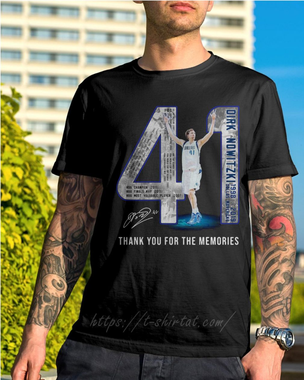 Dirk Nowitzki 1998-2019 Dallas Mavericks thank you for the memories shirt