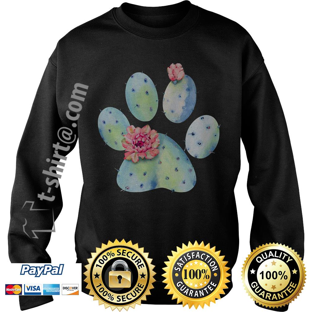 Dog paws cactus and flowers Sweater