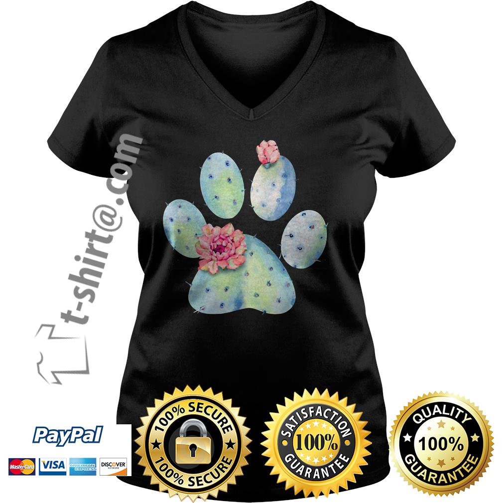 Dog paws cactus and flowers V-neck T-shirt
