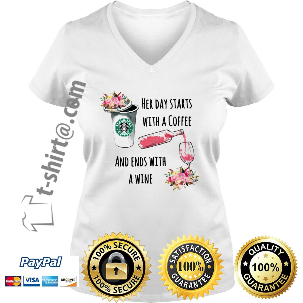 Flower Starbuck her day starts with a coffee and ends with a wine V-neck T-shirt