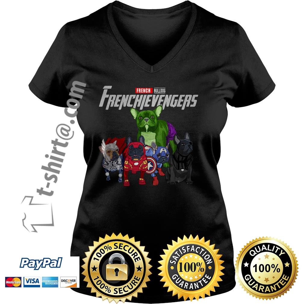 Frenchievengers French bulldog V-neck T-shirt