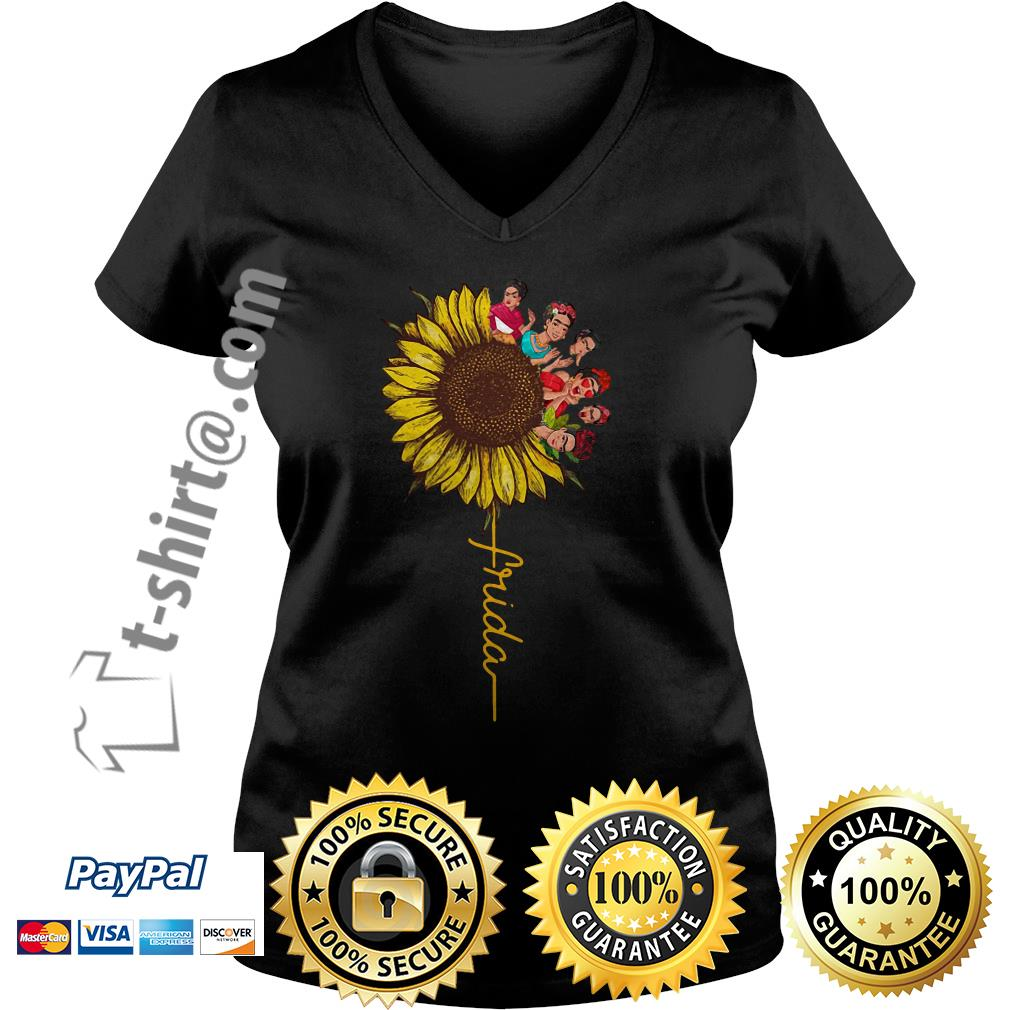 Frida Kahlo sunflower V-neck T-shirt