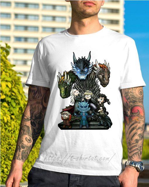 Game of Thrones Daenerys Targaryen Rhaegal and Viserion Chibi shirt