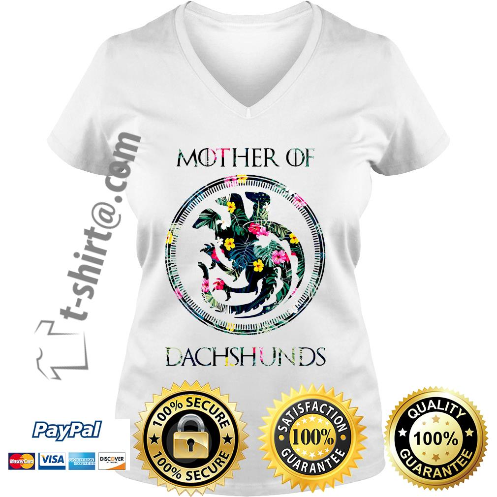 Game of Thrones mother of Dachshunds green flower V-neck T-shirt