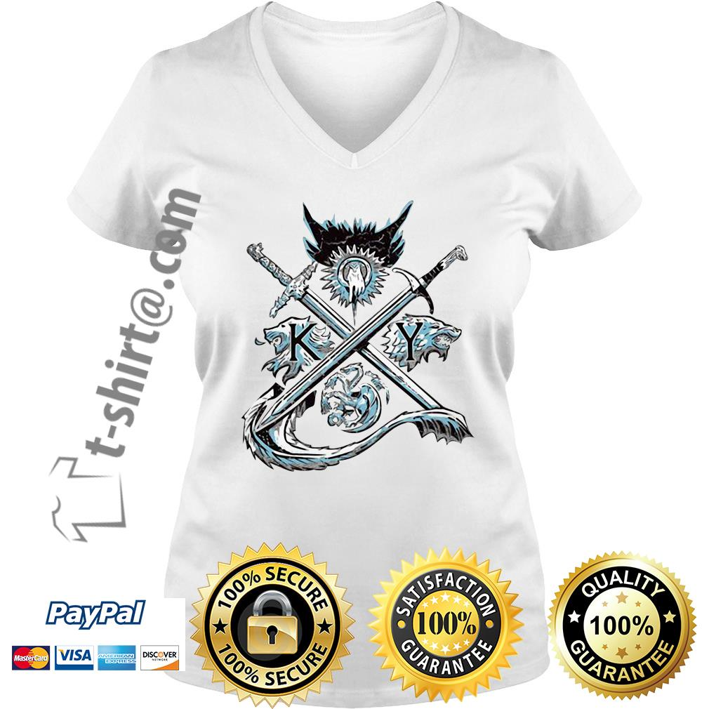 Game of Thrones house Lannister unbowed winter is coming and fire blood V-neck T-shirt