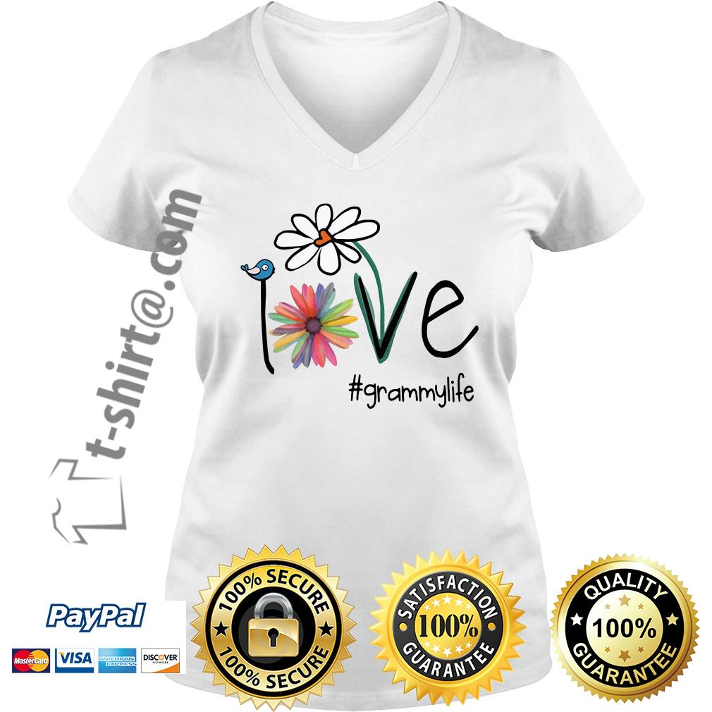 Grammylife bird flower love V-neck T-shirt