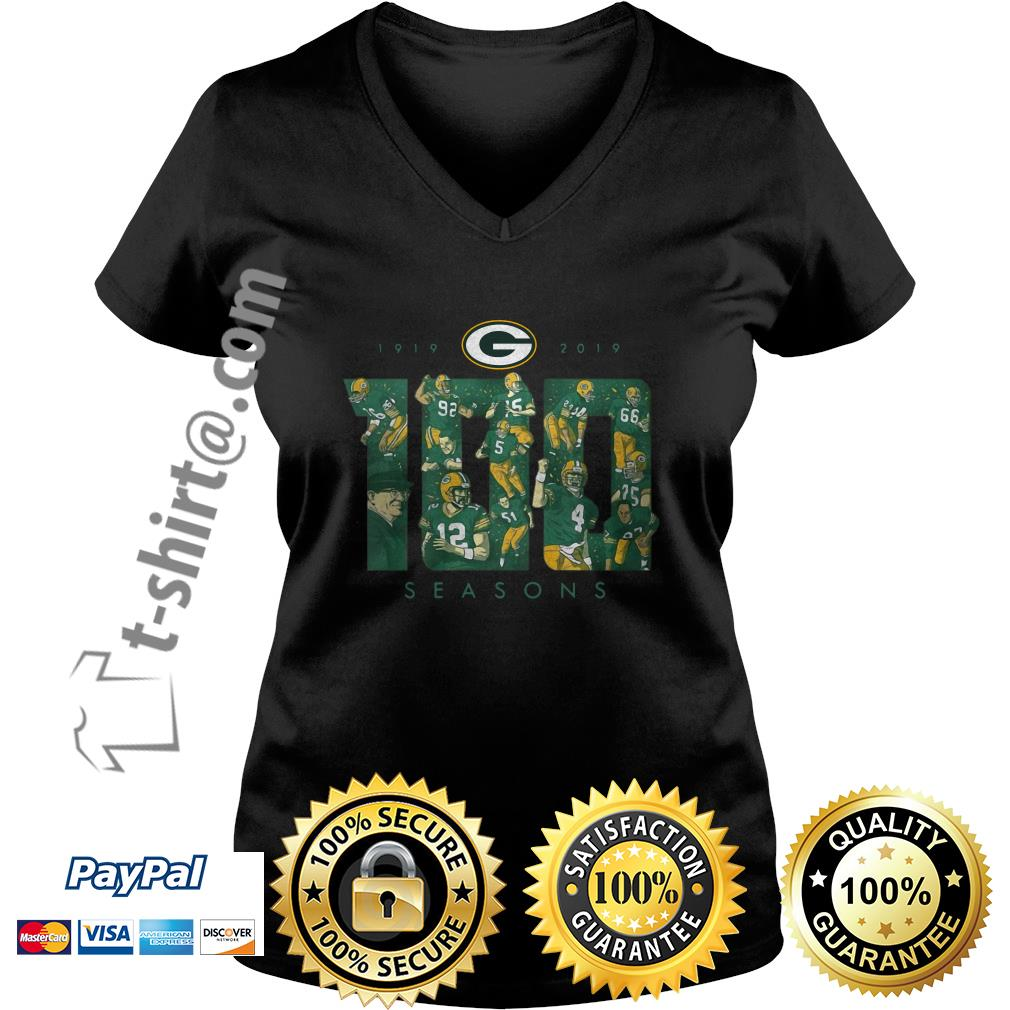 Green Bay Packers 100 seasons 1919-2019 V-neck T-shirt