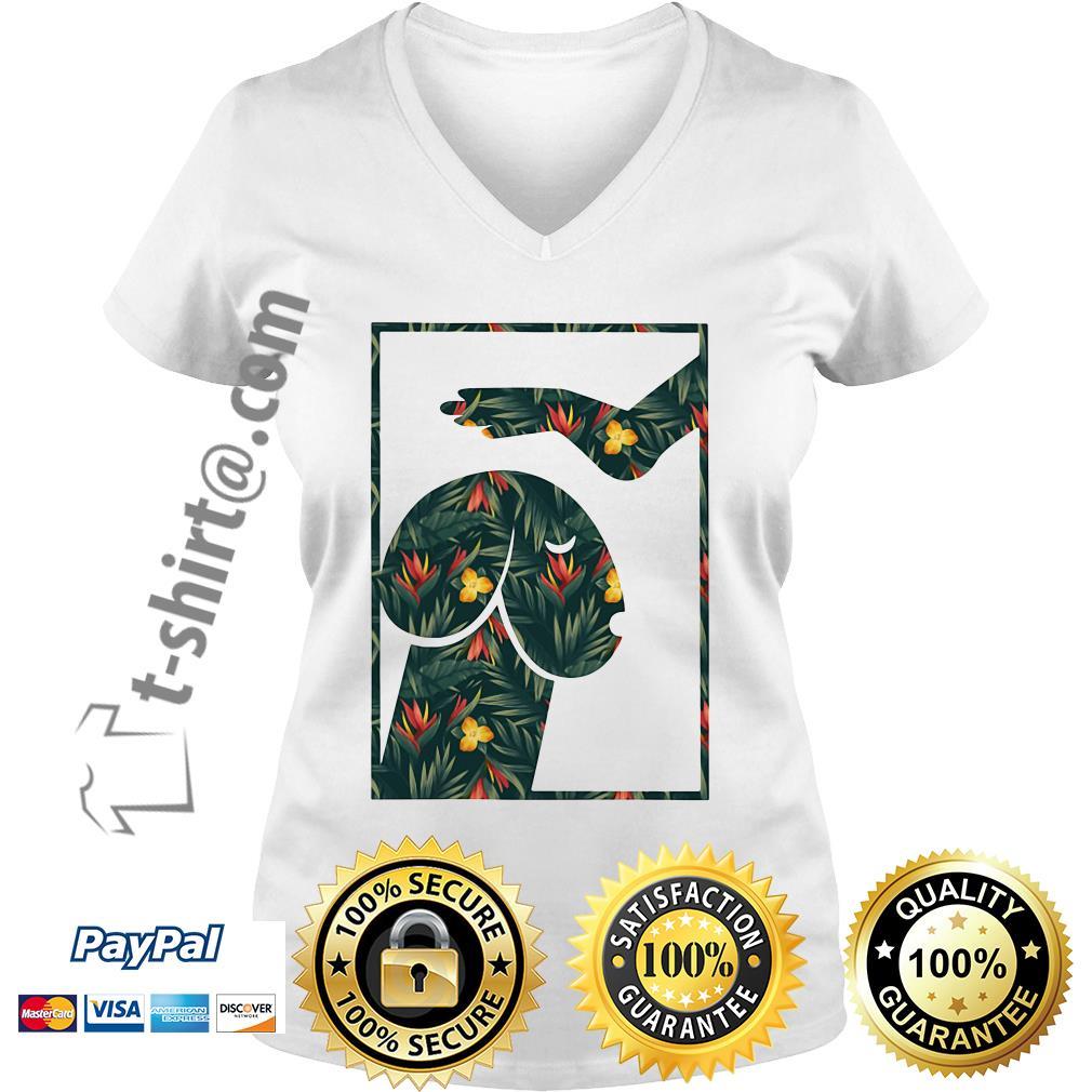 Green flower dickhead dog V-neck T-shirt