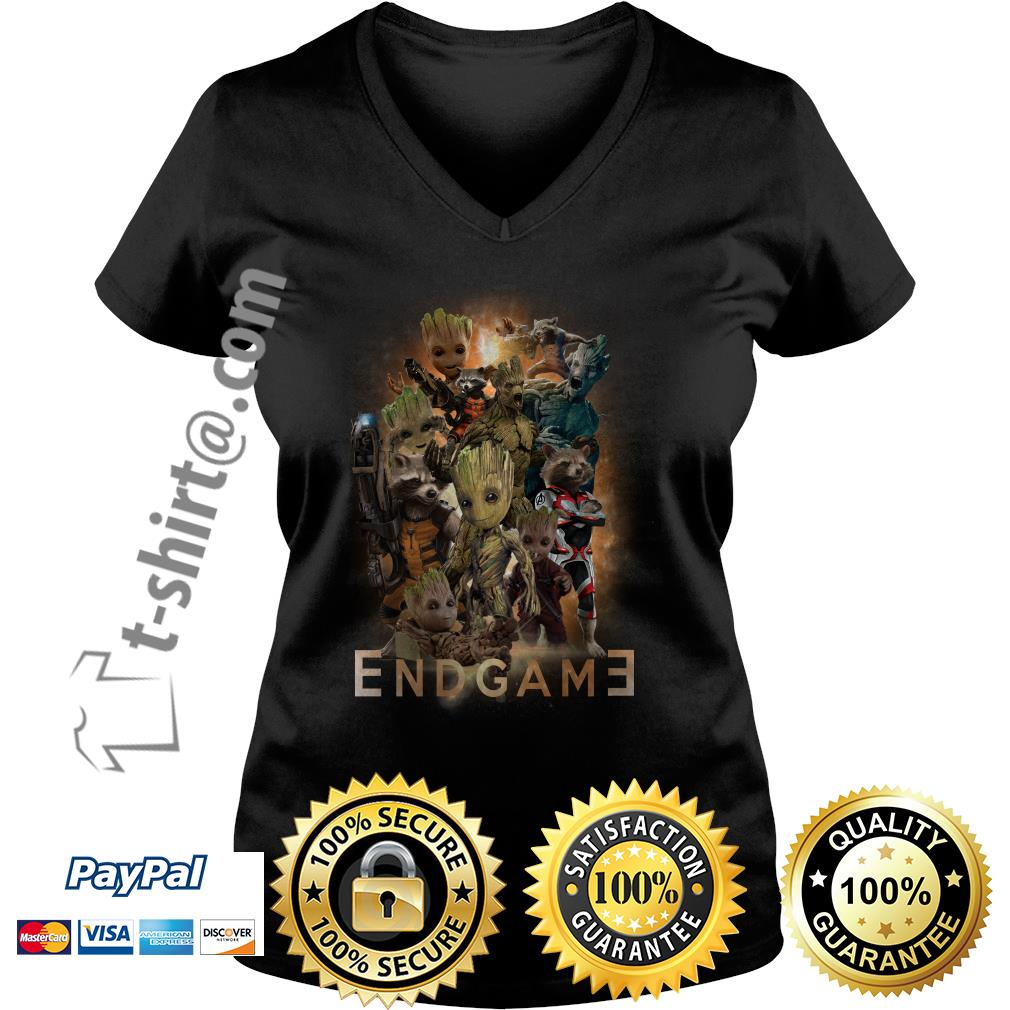 Groot and Rocket Marvel Avenger Endgame Guardians of the Galaxy poster V-neck T-shirt