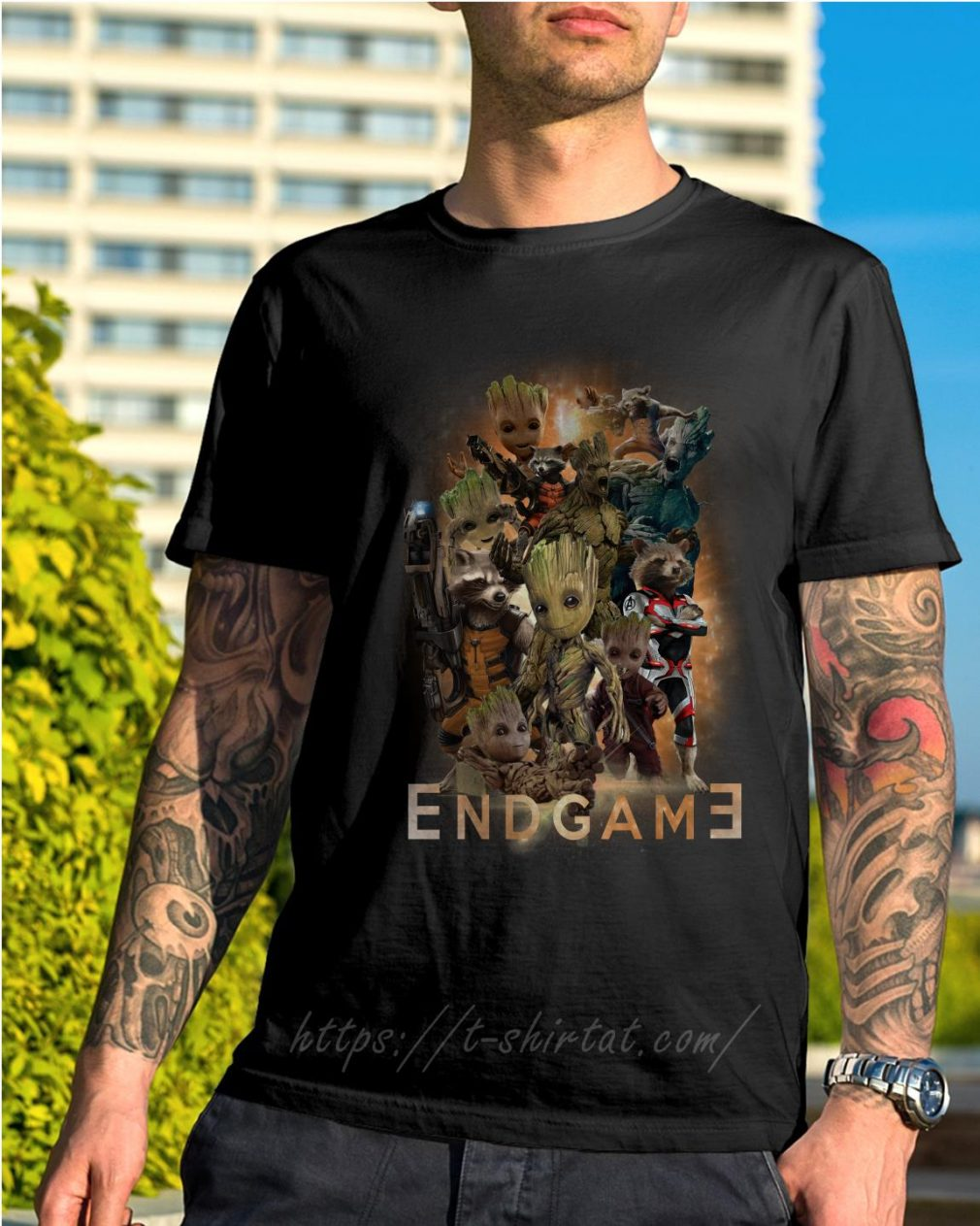 Groot and Rocket Marvel Avenger Endgame Guardians of the Galaxy poster shirt