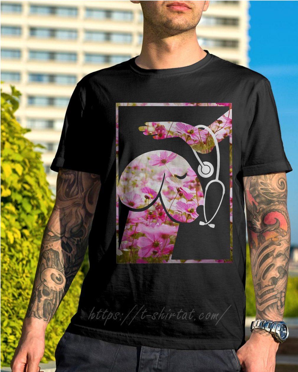 Heartbeat penis dog pink flower shirt