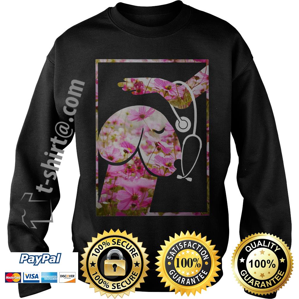 Heartbeat penis dog pink flower Sweater