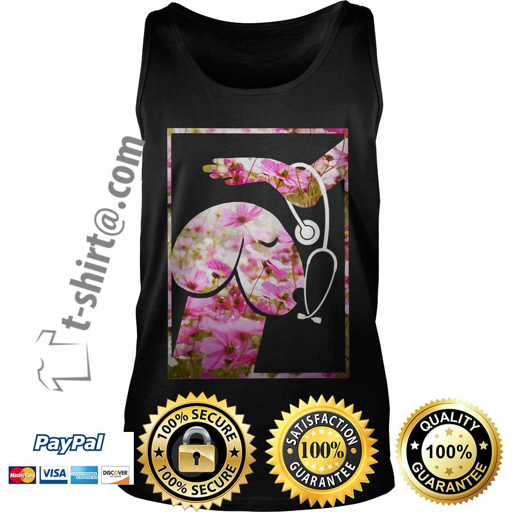 Heartbeat penis dog pink flower Tank top