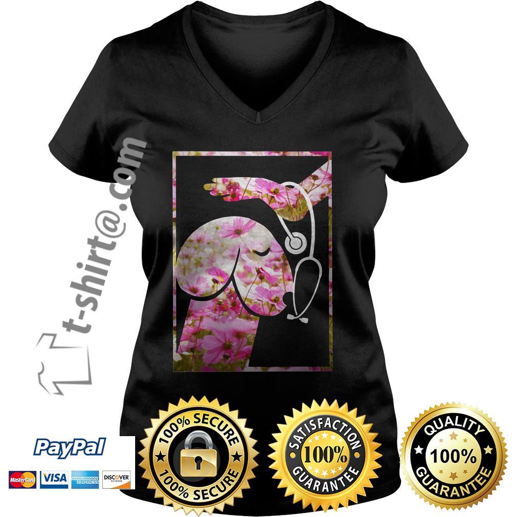 Heartbeat penis dog pink flower V-neck T-shirt