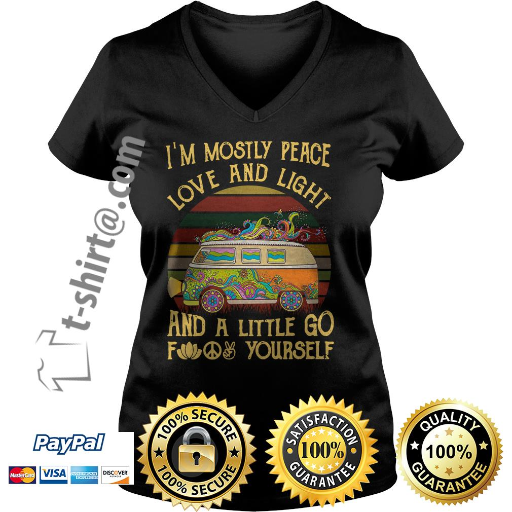 Hippie bus I'm mostly peace love and light and a little go fuck yourself vintage V-neck T-shirt