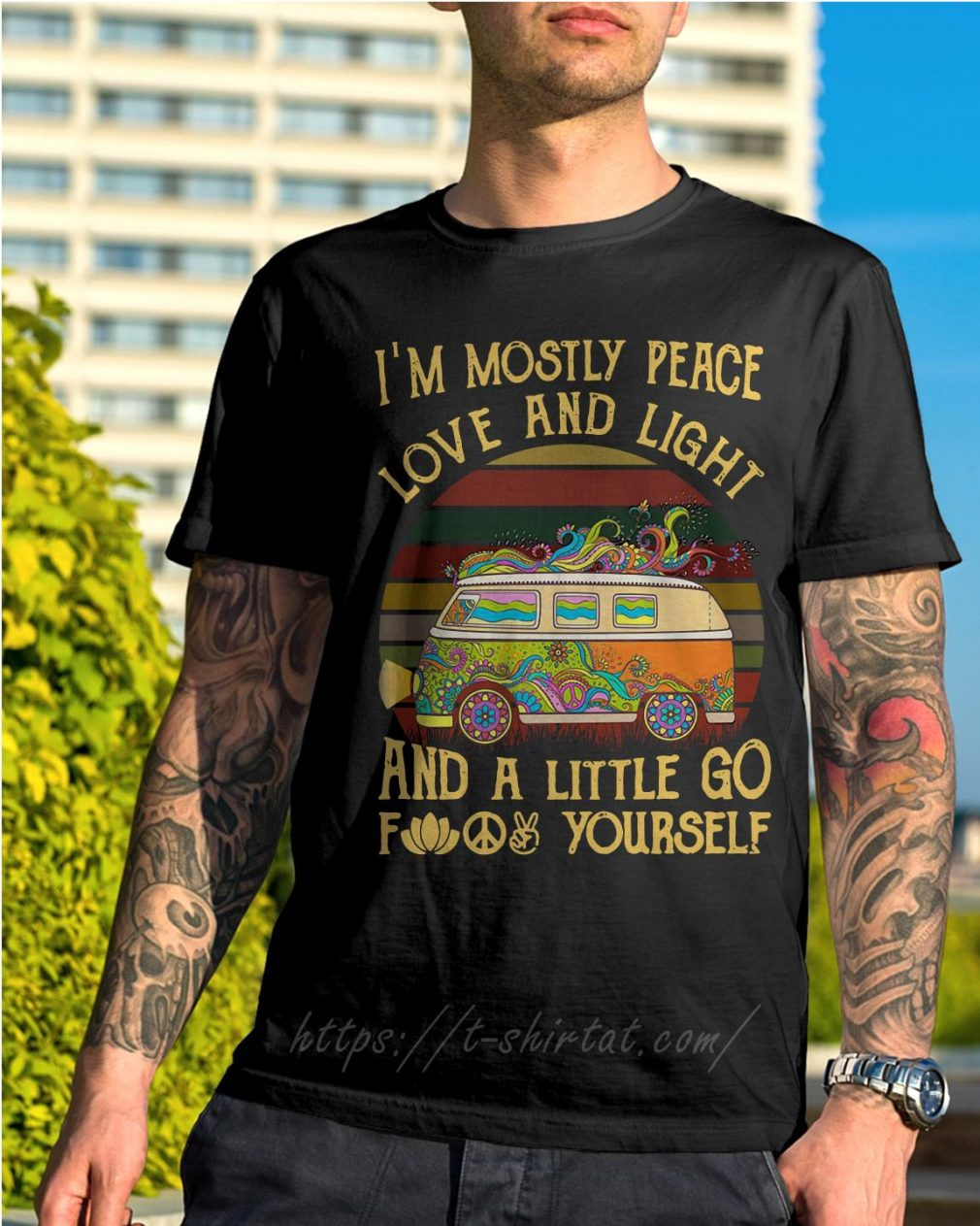 Hippie bus I'm mostly peace love and light and a little go fuck yourself vintage shirt