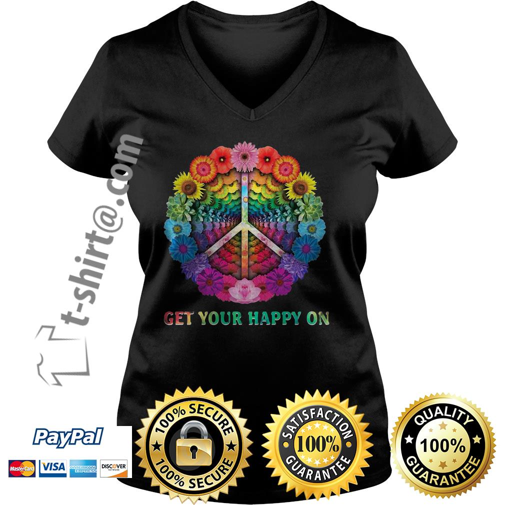 Hippie peace get your happy on flowers V-neck T-shirt