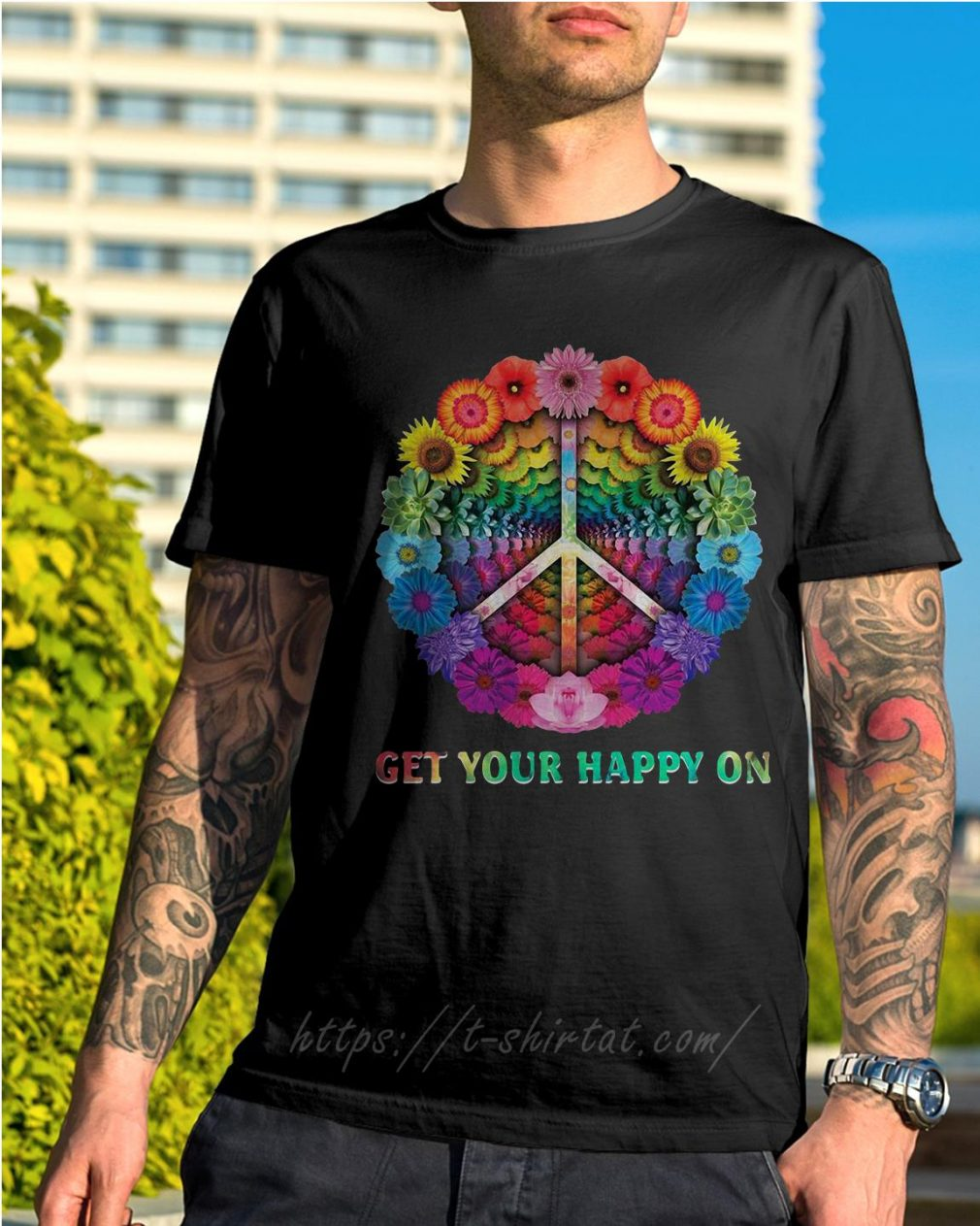 Hippie peace get your happy on flowers shirt