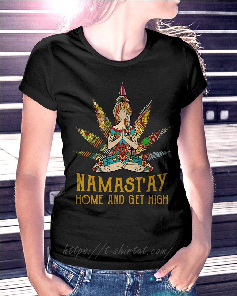Hippie yoga girl Namastay home and get high
