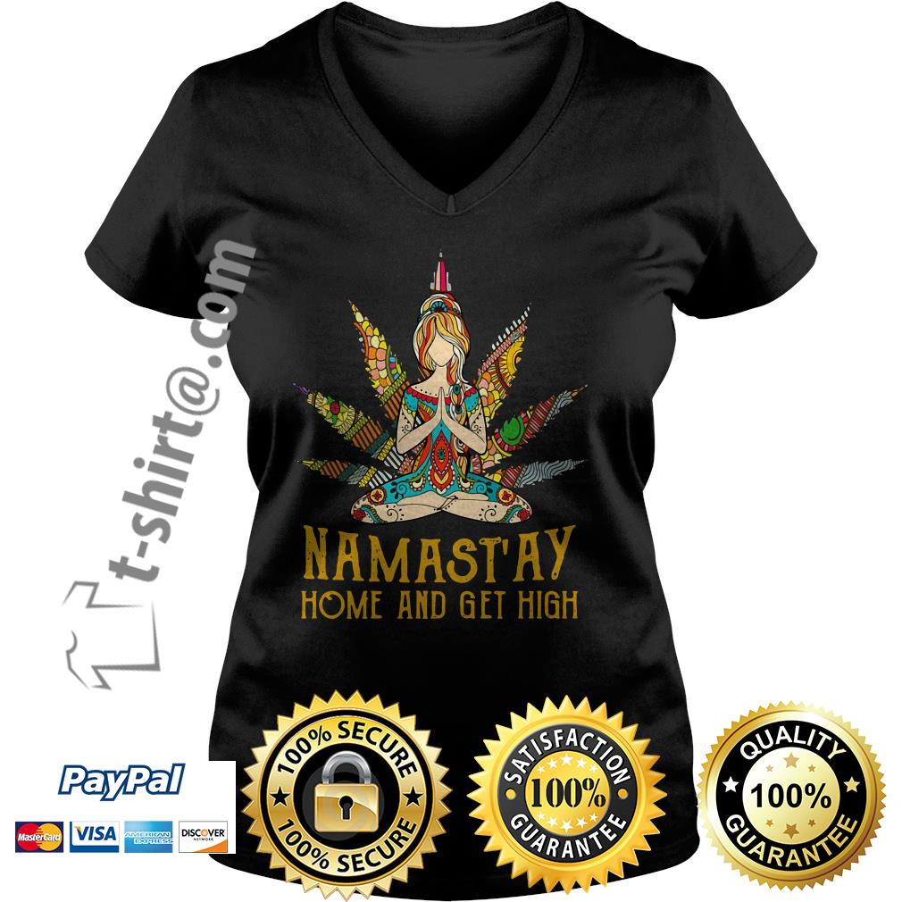 Hippie yoga girl Namastay home and get high V-neck T-shirt