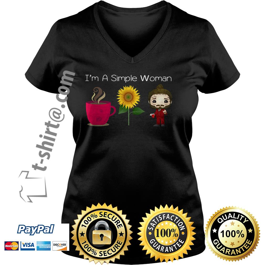 I'm a simple woman who like coffee sunflower and Post Malone V-neck T-shirt