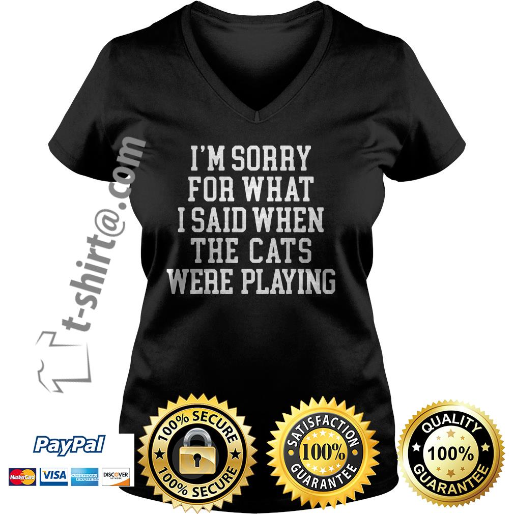 I'm sorry for what I said when the cats were playing V-neck T-shirt