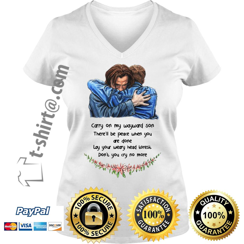 Jared Padalecki carry on my wayward son there'll be peace when you done V-neck T-shirt