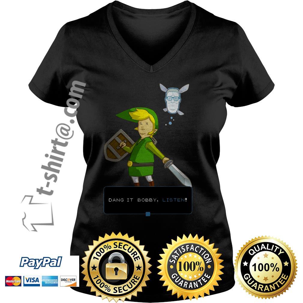 King of the hill link from Zelda and Navi Dang it Bobby listen V-neck T-shirt