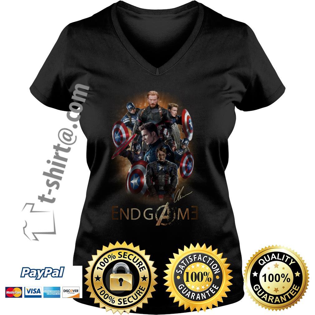 Marvel Avenger endgame Chris Evans signature V-neck T-shirt